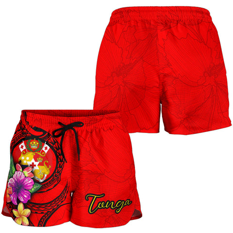 Tonga Polynesian Women's Shorts - Floral With Seal Red - BN12
