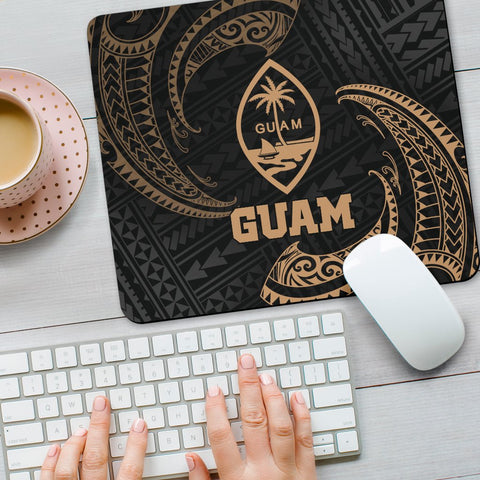 Image of Guam Polynesian Mouse Pad - Gold Tribal Wave - BN12
