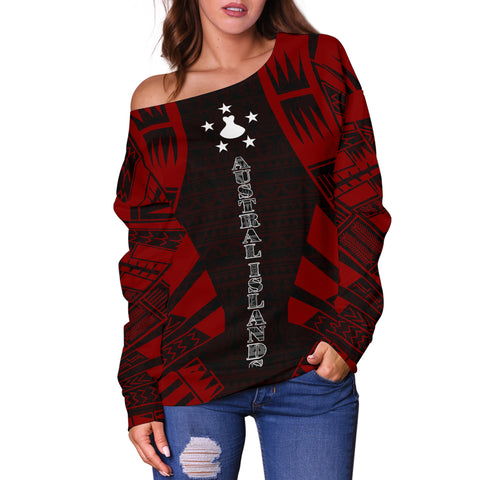 Austral Islands Women's Off Shoulder Sweater - Polynesian Tattoo Red - BN0110