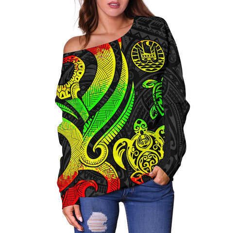 Tahiti Polynesian Women Of Shoulder Sweater - Reggae Tentacle Turtle - BN11