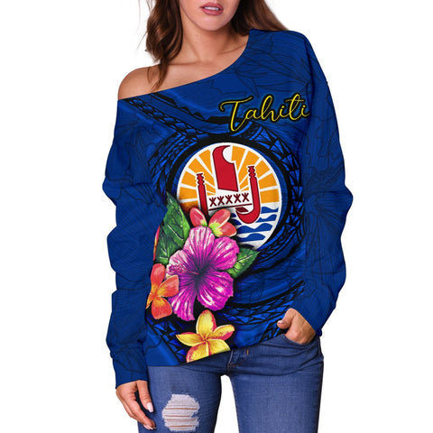 Image of Tahiti Polynesian Women's Off Shoulder Sweater - Floral With Seal Blue - BN12