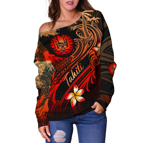 Image of Tahiti Polynesian Women's Off Shoulder Sweater - Plumeria Flowers And Waves - BN12