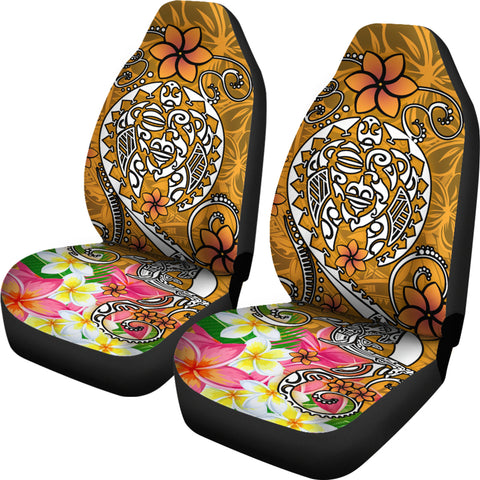 Polynesian Car Seat Covers - Turtle Plumeria Gold Color - BN18