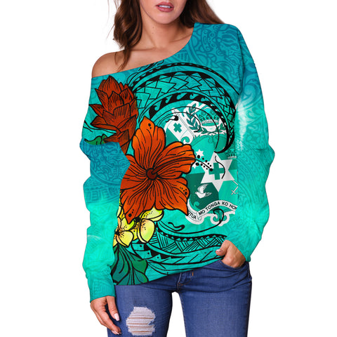 Image of Tonga Women's Off Shoulder Sweater - Tropical Flowers Style - BN01