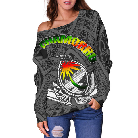 Guam Women's Off Shoulder Sweater - Turtle Guam Seal Chamorro - BN01