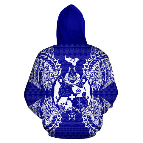 Tonga Polynesian All Over Hoodie Map Blue - BN39