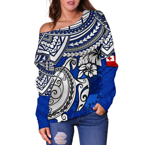 Tonga Polynesian Women's Off Shoulder Sweater - Blue Turtle