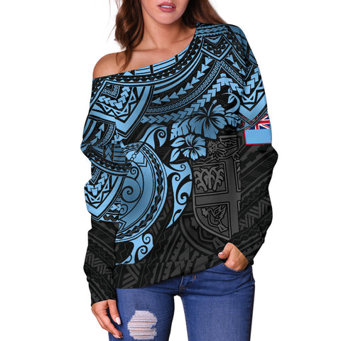 Fiji Polynesian Women's Off Shoulder Sweater - Blue Turtle - BN1518