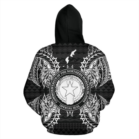 Northern Mariana Islands Polynesian All Over Zip Up Hoodie Map Black - BN39