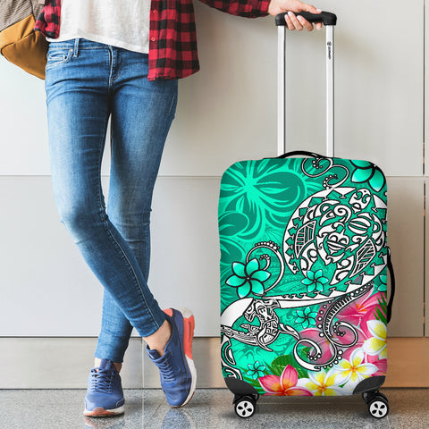 Image of Polynesian Luggage Covers - Turtle Plumeria Turquoise Color