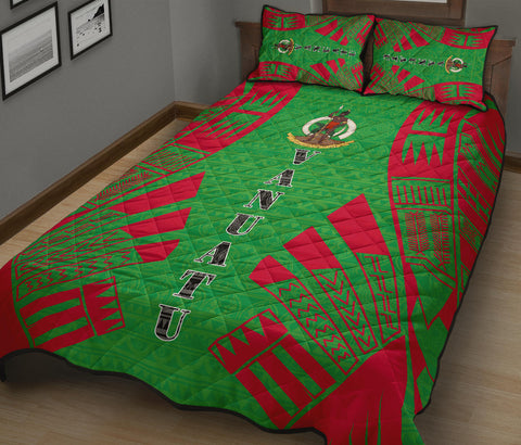 Vanuatu Quilt Bed Set - Green Tattoo Style - BN0112