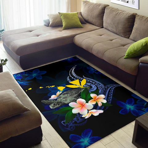 Polynesian Hawaii Area Rug - Turtle With Plumeria Flowers - BN12