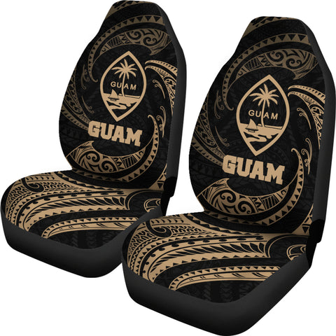 Image of Guam Polynesian Car Seat Covers - Gold Tribal Wave - BN12