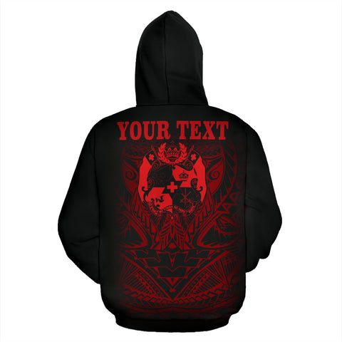 Tonga Polynesian All Over Custom Personalised Hoodie - Red Tribal Pattern - BN12