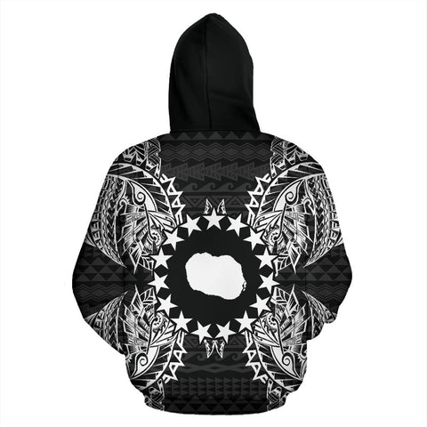 Cook Islands Polynesian All Over Zip Up Hoodie Map Black - BN39