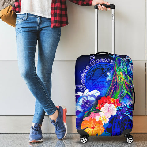 American Samoa Polynesian Luggage Covers - Humpback Whale with Tropical Flowers (Blue)