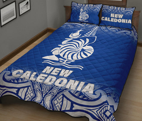 New Caledonia Polynesian Quilt Bed Set - Blue Fog Style - BN12
