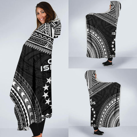 Cook Islands Polynesian Chief Hooded Blanket - Black Version