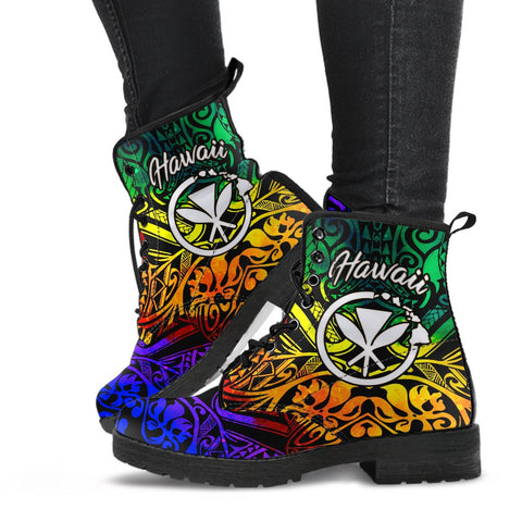 Hawaii Leather Boots - Rainbow Polynesian Pattern - BN11