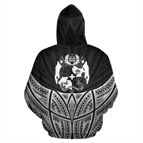 Image of Tonga Polynesian Custom Personalised Hoodie Black Pride Map And Seal - BN39