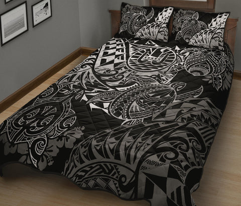 Image of Tahiti Polynesian Quilt Bed Set - White Turtle Hibiscus Flowing