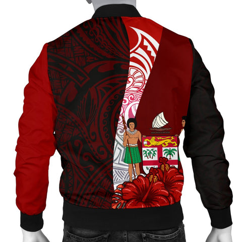 Fiji Polynesian Men's Bomber Jacket - Coat Of Arm With Hibiscus - BN12