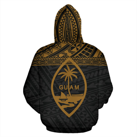 Guam Polynesian All Over Custom Personalised Hoodie - Yellow Horizontal Style - BN0112