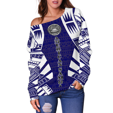 Image of American Samoa Women's Off Shoulder Sweater - Polynesian Tattoo Flag - BN0110