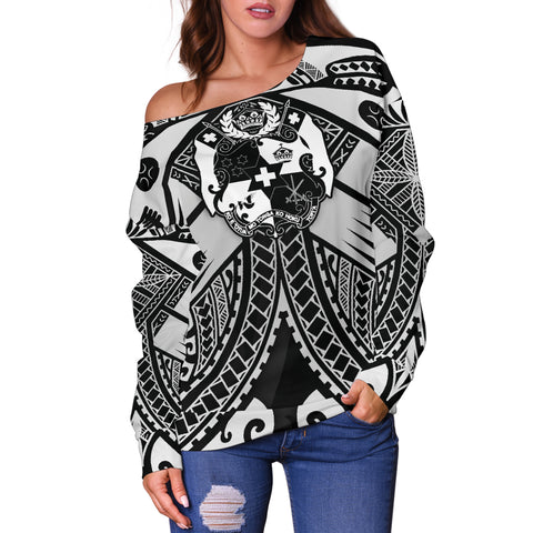 Tonga Polynesian Women's Off Shoulder Sweater - Tonga White Seal with Polynesian tattoo - BN18
