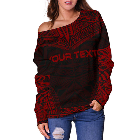 Fiji Polynesian Chief Custom Personalised Women's Off Shoulder Sweater - Red Version - Polynesian Apparel, Poly Clothing, Women Sweater