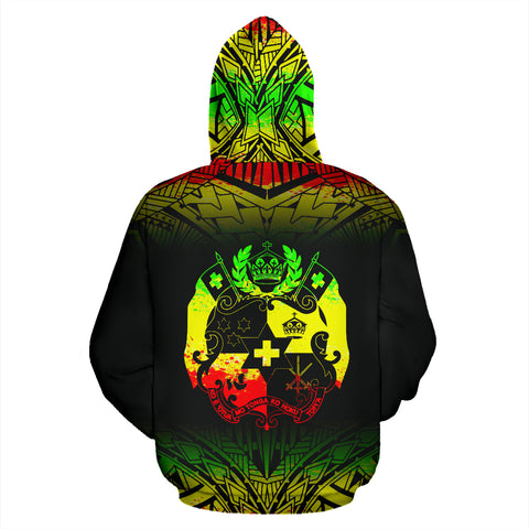 Image of Tonga Polynesian All Over Zip-Up Hoodie - Reggae Fog - BN12