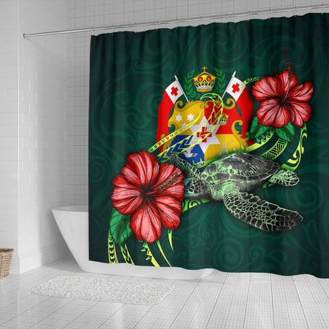 Image of Tonga Polynesian Shower Curtain - Green Turtle Hibiscus - BN12