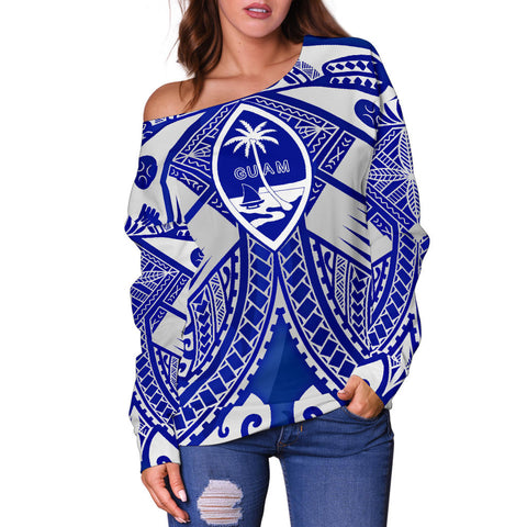 Guam Polynesian Women's Off Shoulder Sweater - Guam White Seal with Polynesian Tattoo Ver02 - BN18