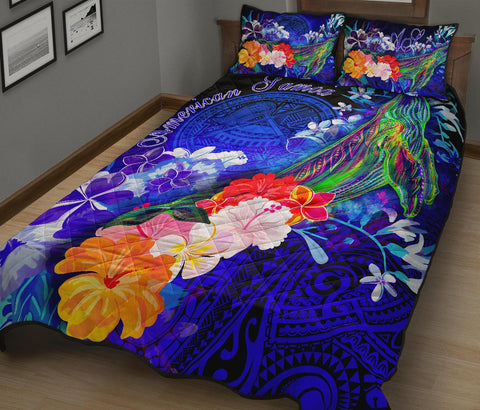 American Samoa Polynesian Quilt Bed Set - Humpback Whale with Tropical Flowers (Blue)
