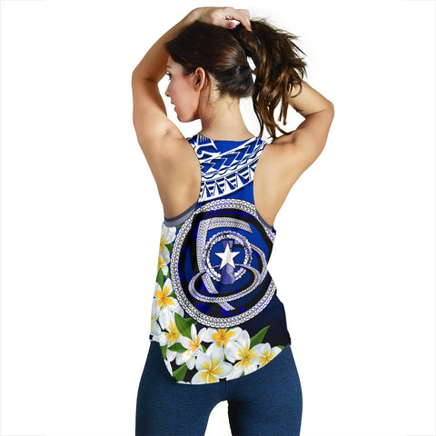 Image of Northern Mariana Islands Women's Racerback Tank - Polynesian Plumeria Pattern - BN39