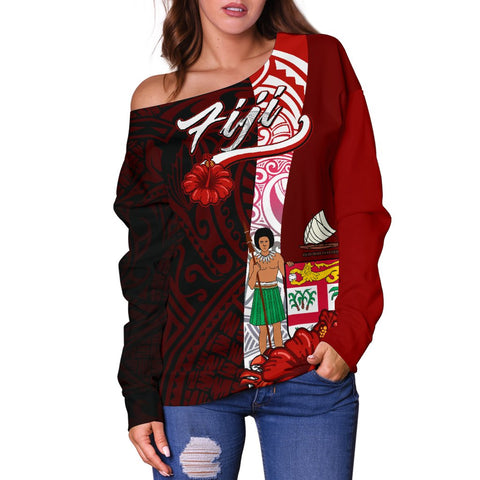 Image of Fiji Polynesian Women's Off Shoulder Sweater - Coat Of Arm With Hibiscus - BN12