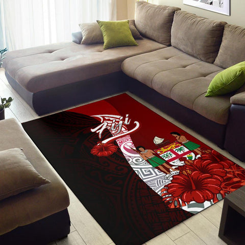 Fiji Polynesian Area Rug - Coat Of Arm With Hibiscus - BN12