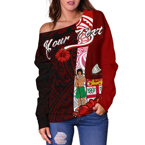 Fiji Polynesian Custom Personalised Women's Off Shoulder Sweater - Coat Of Arm With Hibiscus - BN12
