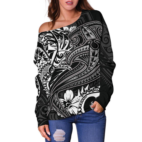 Image of Polynesian Women's Off Shoulder Sweater - White Shark Polynesian Tattoo - BN18