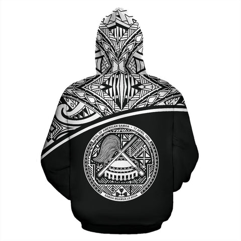 American Samoa All Over Custom Personalised Zip-Up Hoodie - Polynesian Black Curve - BN09