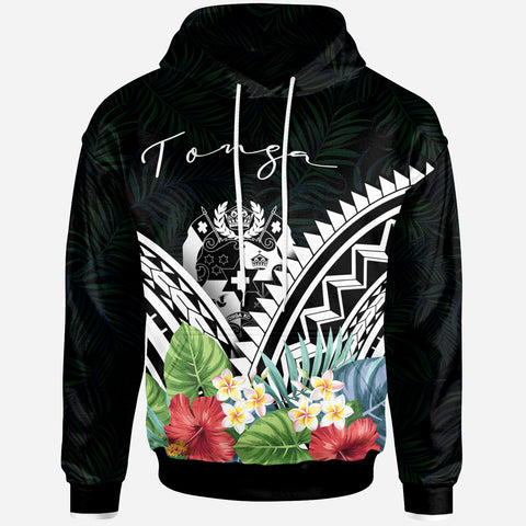 Tonga Hoodie -Tonga Coat of Arms & Polynesian Tropical Flowers White - BN22