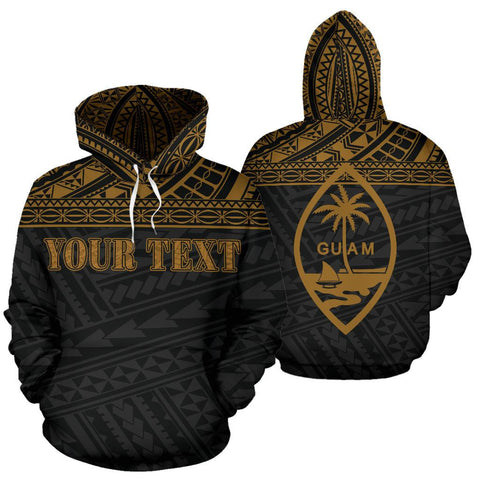 Guam Polynesian All Over Custom Personalised Hoodie - Yellow Horizontal Style