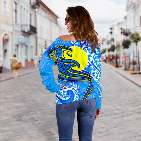 Palau Polynesian Women's Off Shoulder Sweater - Palau Flag with Polynesian Tattoo