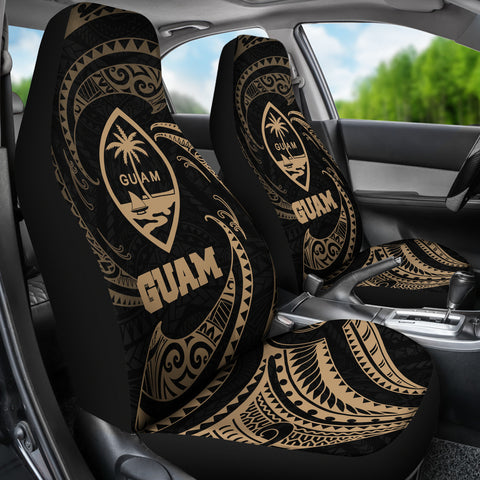 Guam Polynesian Car Seat Covers - Gold Tribal Wave - BN12