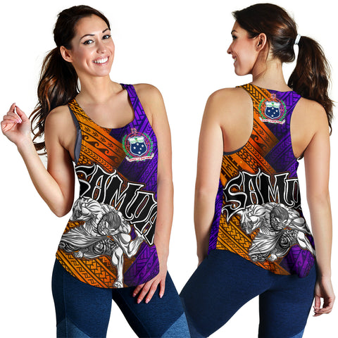 Image of Samoa Women's Racerback Tank - Warrior Style Polynesian Patterns