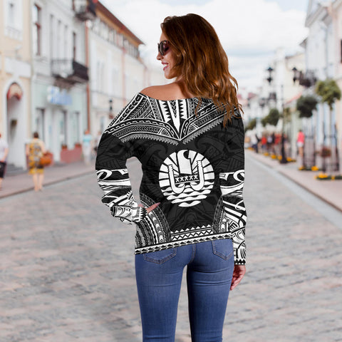 Tahiti Polynesian Chief Custom Personalised Women's Off Shoulder Sweater - Black Version - Bn10