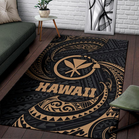 Hawaii Polynesian Area Rug - Gold Tribal Wave - BN12