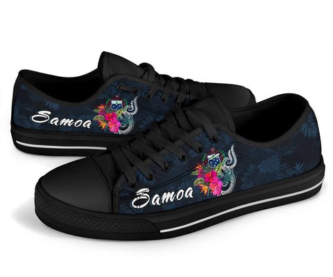 Image of Samoa Polynesian Low Top Shoes - Tropical Flowers - BN12