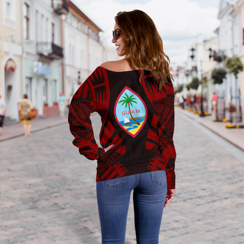 Guam Women's Off Shoulder Sweater - Polynesian Tattoo Red - BN0110