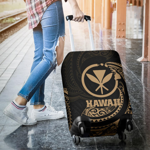 Hawaii Polynesian Luggage Covers - Gold Tribal Wave - BN12